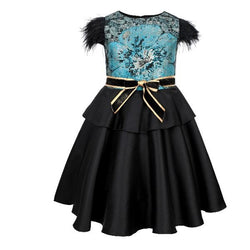 BIG/BABY GIRLS BLUE/BLACK DAMASK BALL DRESS - ruffntumblekids