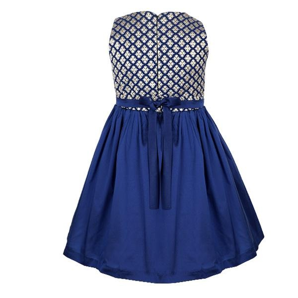 GIRLS BLUE/GOLD DAMASK SKATER DRESS