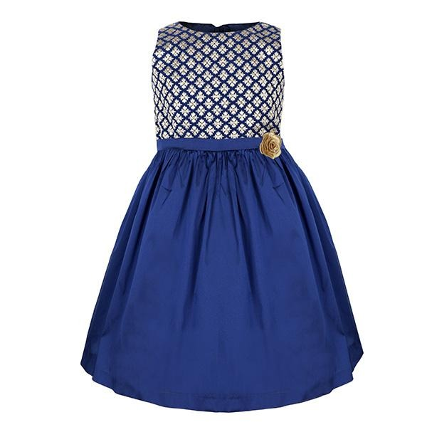BLUE/GOLD DAMASK SKATER DRESS