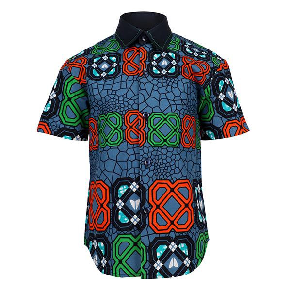 BLUE/MULTI ANKARA PRINT SHIRT