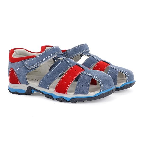 blue/red Velcro sandals-ruffntumble