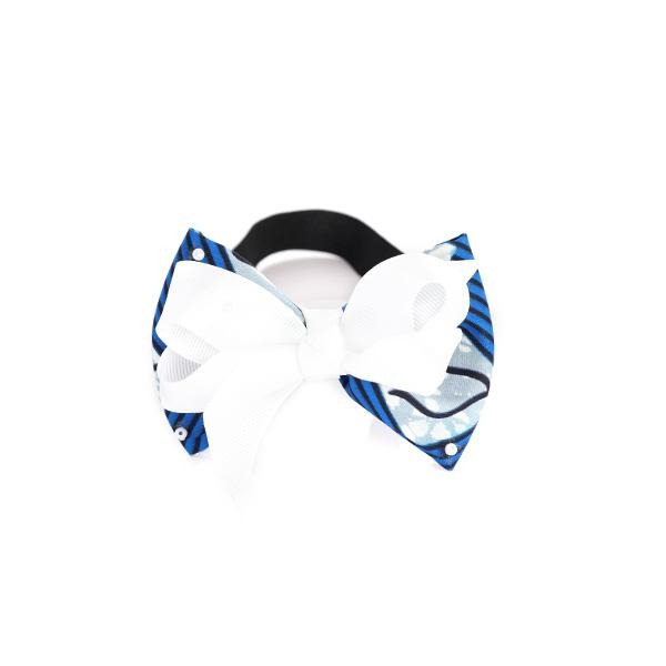 BABY GIRLS BLUE/WHITE ANKARA ELASTIC BAND - ruffntumblekids