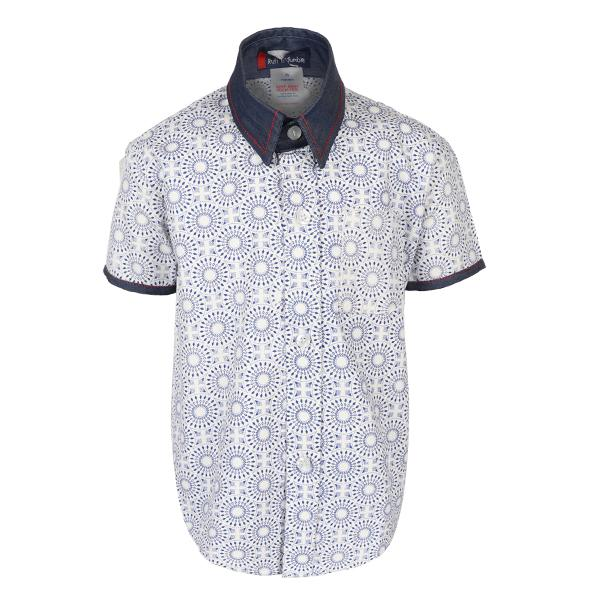 BLUE/WHITE S/S PATTERN SHIRT