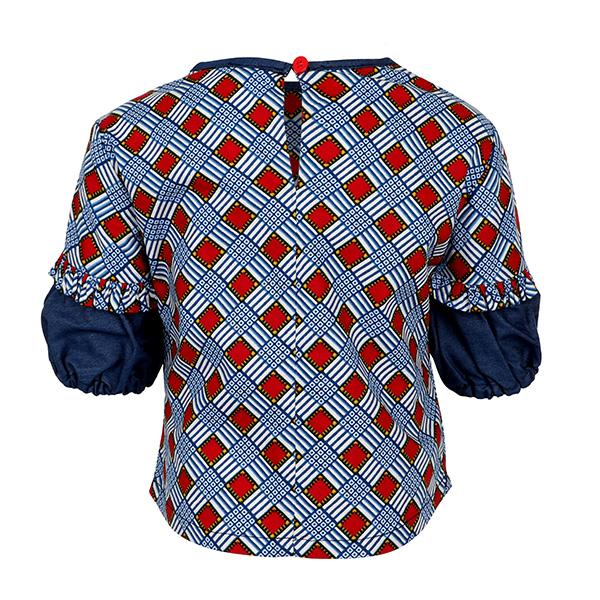 BIG GIRLS BLUE ANKARA PUFF SLEEVE BLOUSE