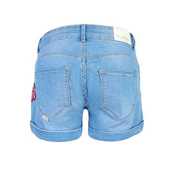 GIRLS BLUE DENIM LETTERING BUM SHORT