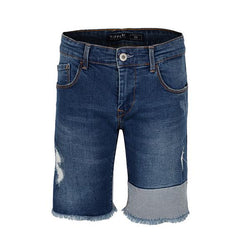 blue  ripped denim shorts-ruffntumble