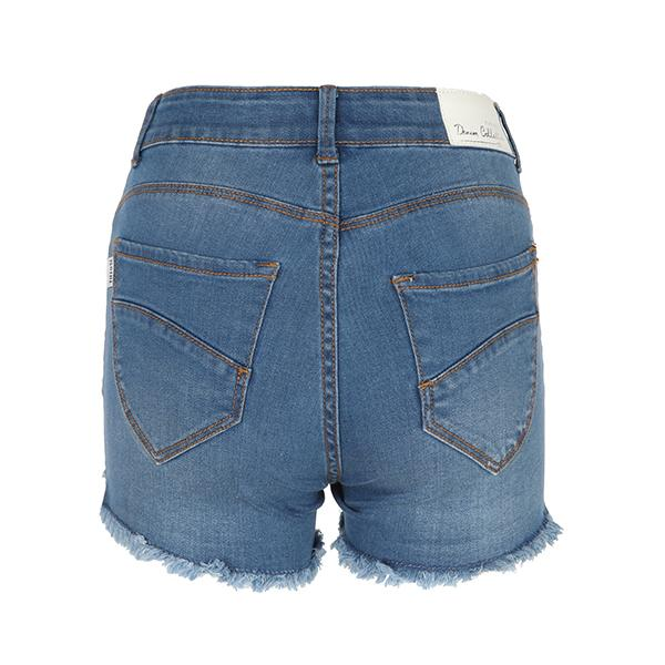 GIRLS BLUE DENIM STUDDED BUM SHORT