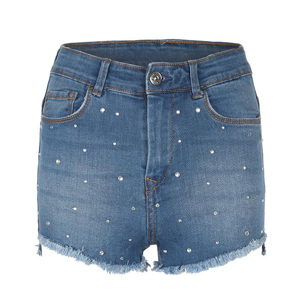 BIG GIRLS BLUE DENIM STUDDED BUM SHORT - ruffntumblekids