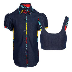 BIG/BABY GIRLS BLUE DENIM ANKARA SHIRT - ruffntumblekids