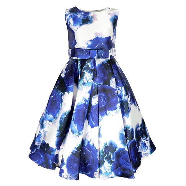 BIG /SMALL GIRLS BLUE FIT & FLARE FLORAL DRESS - ruffntumblekids
