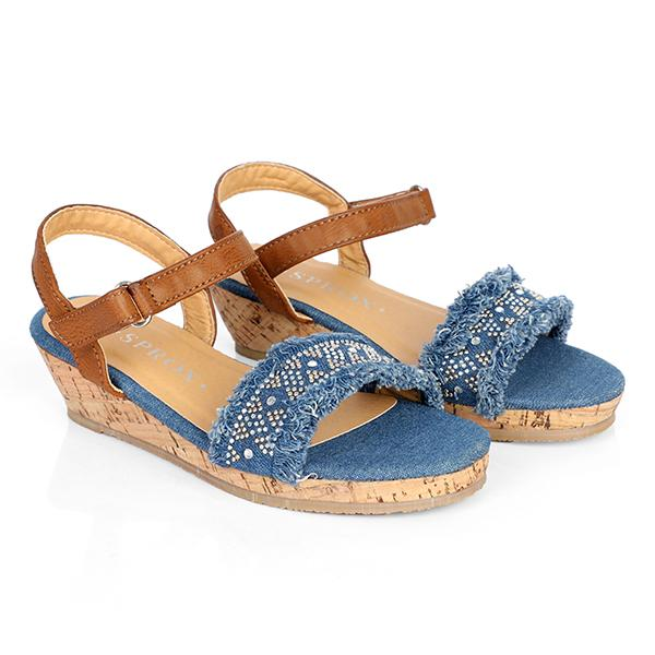 BIG GIRLS BLUE KIDS WEDGE SANDALS - ruffntumblekids