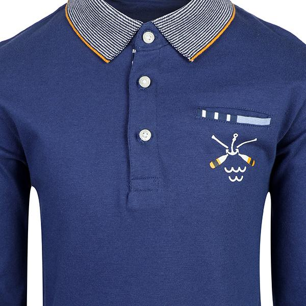 BOYS BLUE SEA LOGO POLO - ruffntumblekids