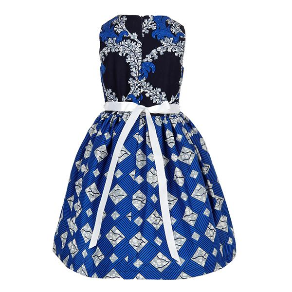 BABY GIRLS BLUE MIXED PRINT ANKARA DRESS