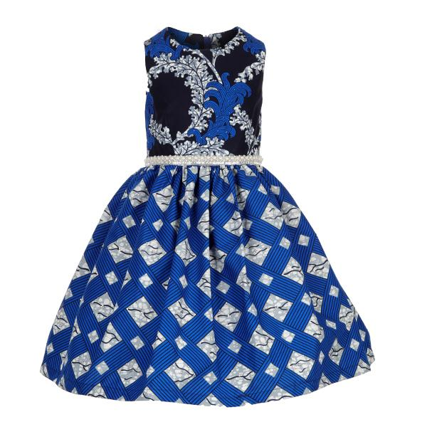 BABY GIRLS BLUE MIXED PRINT ANKARA DRESS - ruffntumblekids