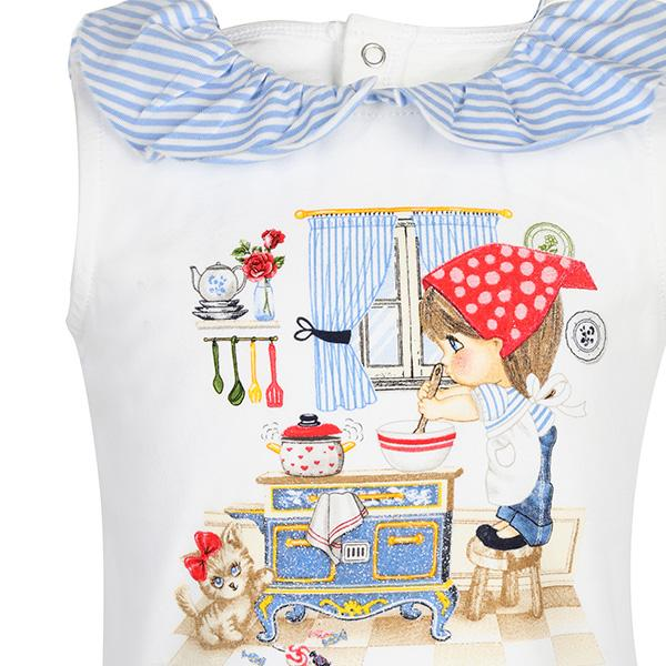 BABY GIRLS BLUE RUFFLE NECKLINE T-SHIRT