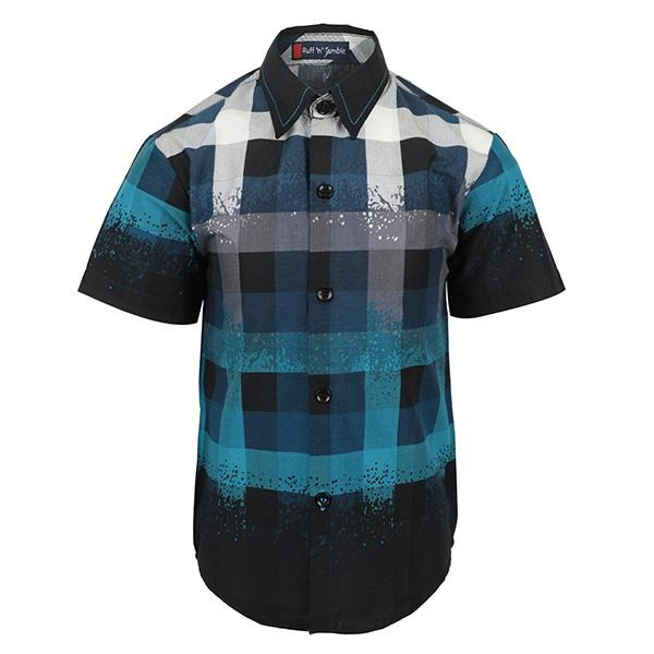 blue short sleeve shirt-ruffntumble