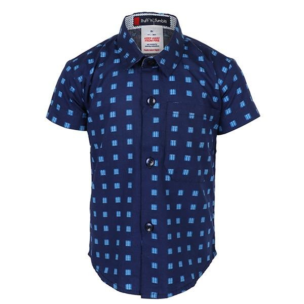 BLUE S/S COTTON PRINT SHIRT