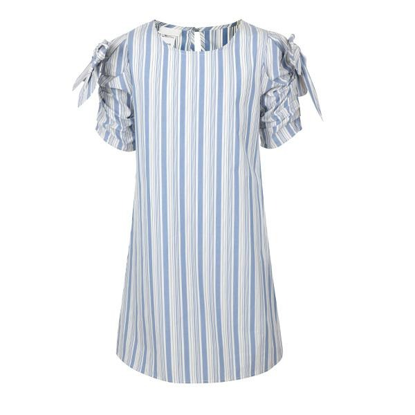 BIG GIRLS BLUE STRIPE SHIFT DRESS - ruffntumblekids