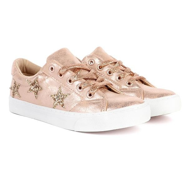 BABY GIRLS BRONZE EMBELLISHED SNEAKERS - ruffntumblekids