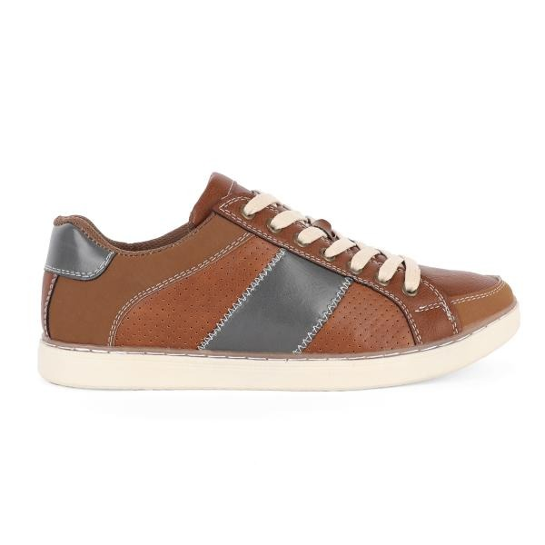 BOYS BROWN LEATHER LACE UP SNEAKERS - ruffntumblekids