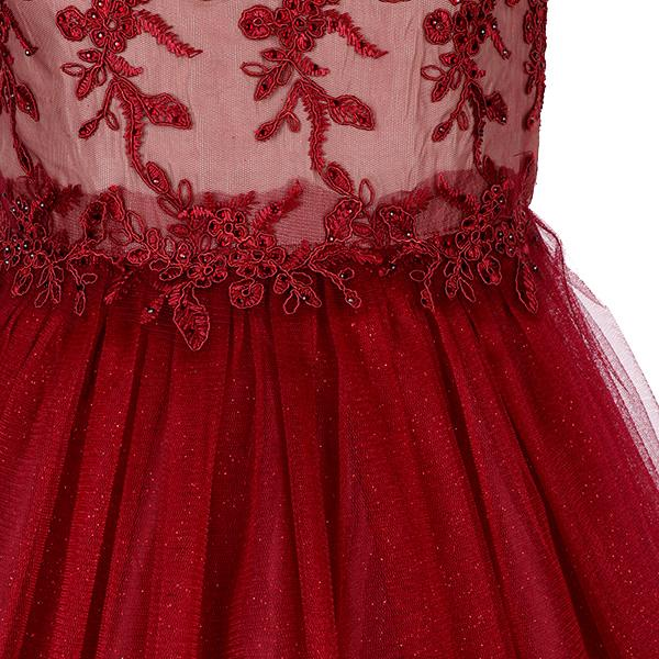 BIG / SMALL GIRLS Burgundy Embroidery Dress - ruffntumblekids