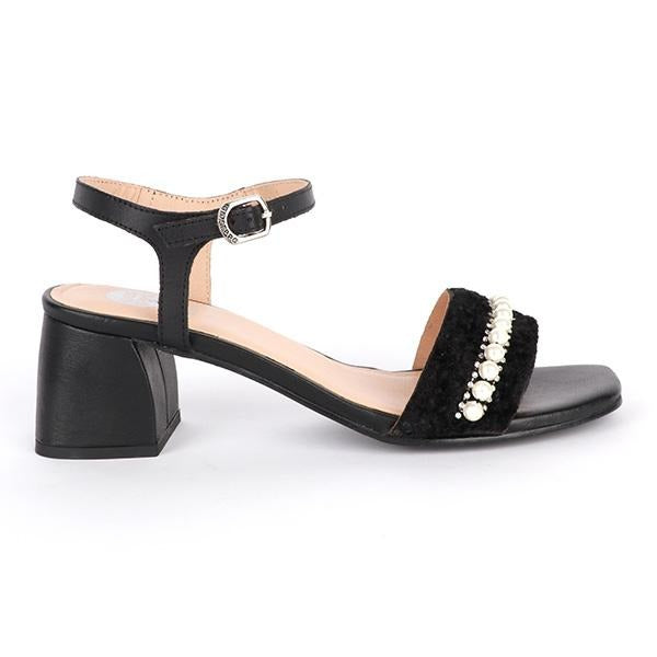 BIG Girls Black Stoned Block Heel Strap Sandal