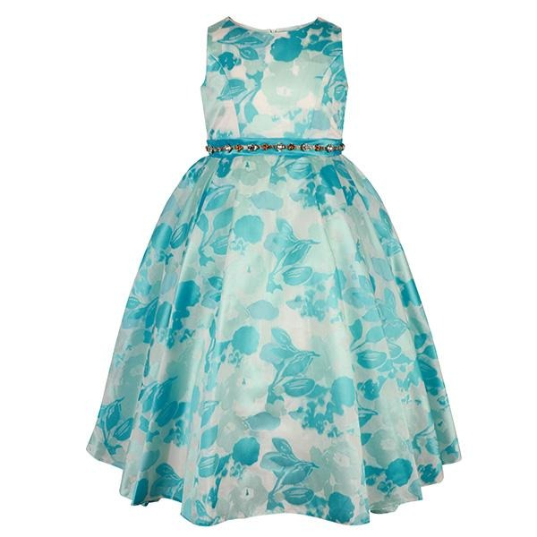 Girls Blue Floral Fit & Flare Dress
