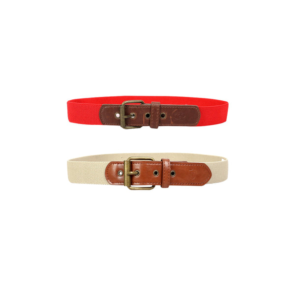 BOYS ELASTIC BELT BUNDLE-RED AND ALMOND - ruffntumblekids
