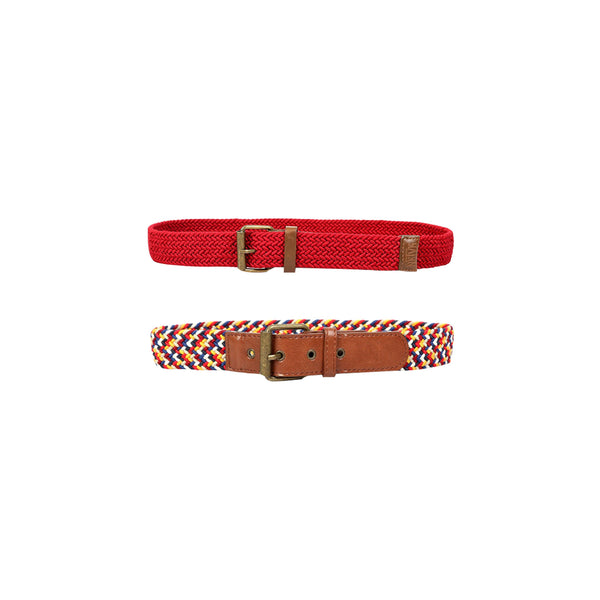 BOYS ELASTIC BELT BUNDLE-MULTICOLOR AND RED - ruffntumblekids