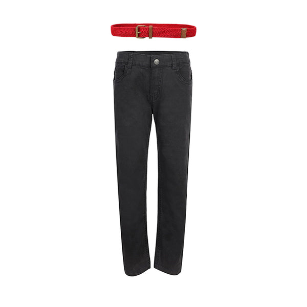 BOYS GRAPHITE TROUSER AND RED BELT BUNDLE - ruffntumblekids