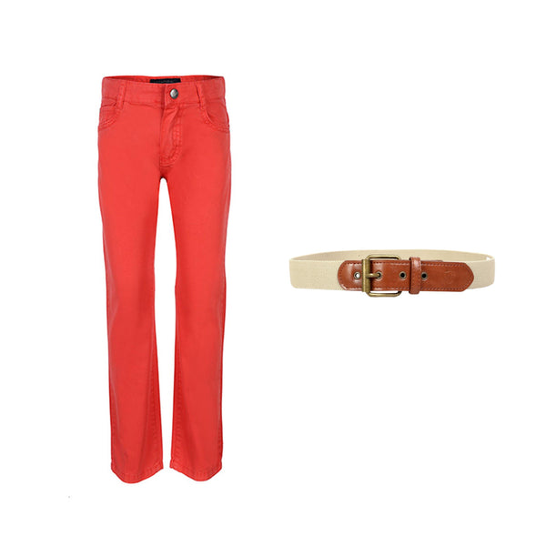 BOYS RED LOBSTER TROUSER AND ALMOND BELT BUNDLE - ruffntumblekids