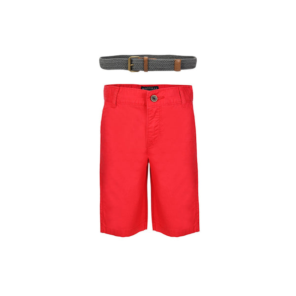 BOYS RED CHINOS SHORT AND GRAPHITE BELT BUNDLE - ruffntumblekids