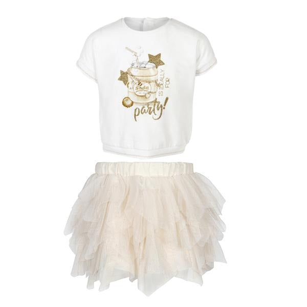 GIRLS Champagne Tulle Skirt Set