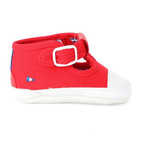 BOYS RED TWILL BABY SHOES - ruffntumblekids