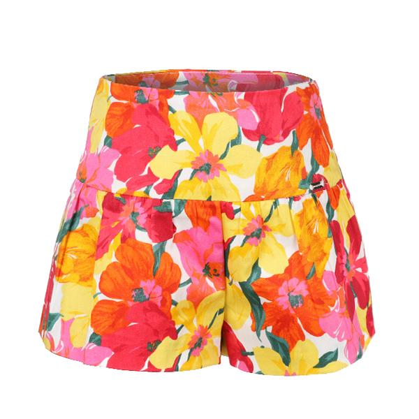 GIRLS CORAL FLORAL PRINT SHORTS
