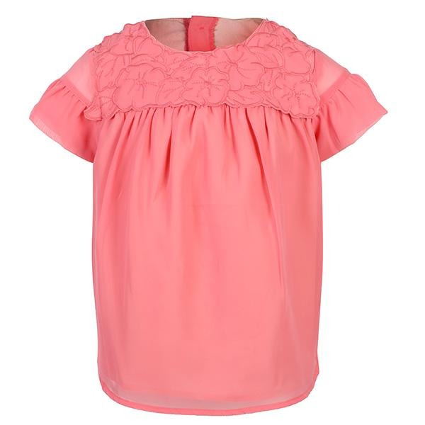 GIRLS CORAL KNITTED GAUZE  BLOUSE - ruffntumblekids