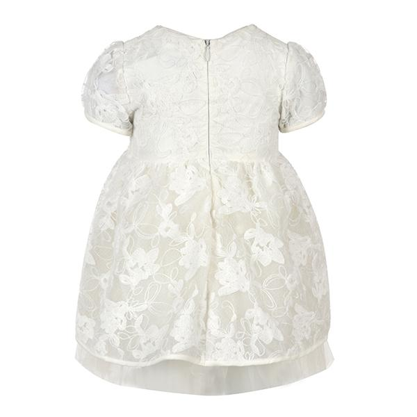 GIRLS CREAM EMBROIDERED TULLE DRESS - ruffntumblekids