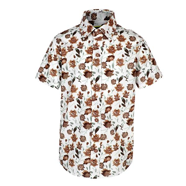 cream floral short sleeve shirt-ruffntumble