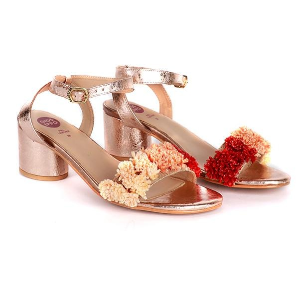 Girls Copper Block Heel Sandals