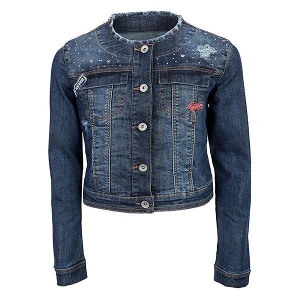 GIRLS DARK DENIM JACKET - ruffntumblekids