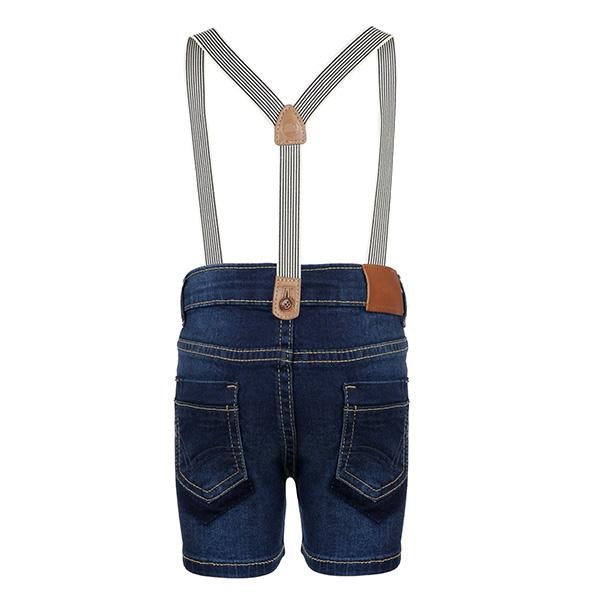 BOYS NAVY BLUE DENIM SHORT WITH SUSPENDERS - ruffntumblekids