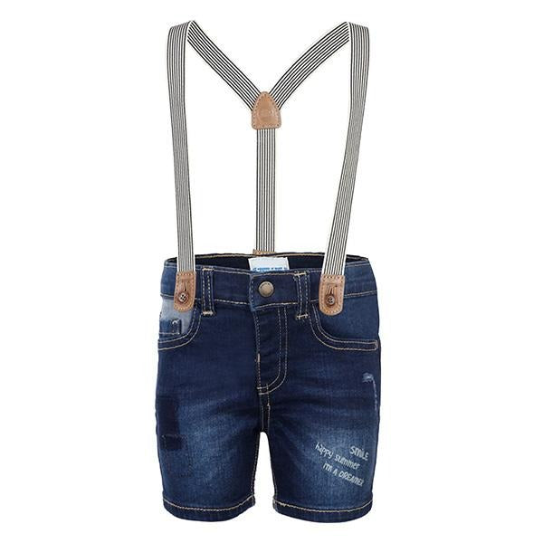 BOYS NAVY BLUE DENIM SHORT WITH SUSPENDERS