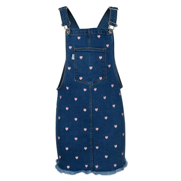 GIRLS DENIM BLUE PRINT DUNGAREES - ruffntumblekids