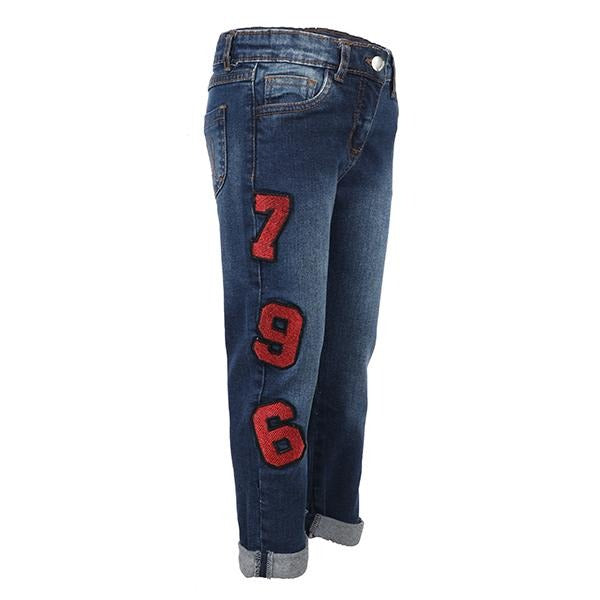 GIRLS DENIM BLUE SLIM FIT TROUSER