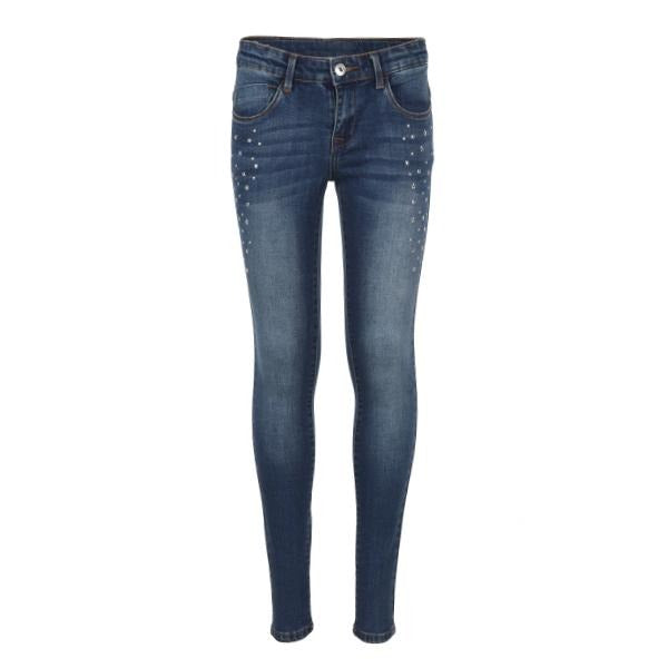 GIRLS DENIM BLUE STUDDED TROUSER - ruffntumblekids