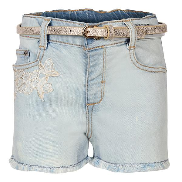 GIRLS DENIM EMBROIDERED SHORTS - ruffntumblekids