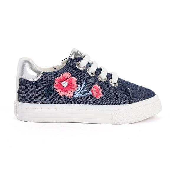GIRLS DENIM EMBROIDERED SNEAKERS - ruffntumblekids