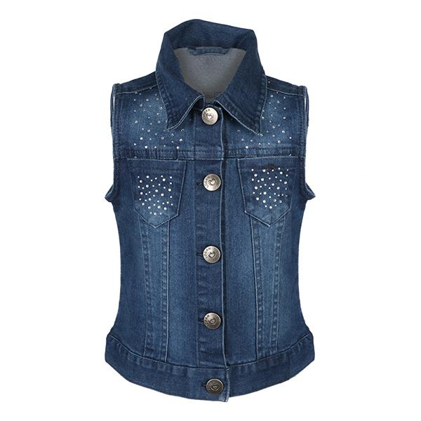 GIRLS DENIM SLEEVELESS JACKET - ruffntumblekids
