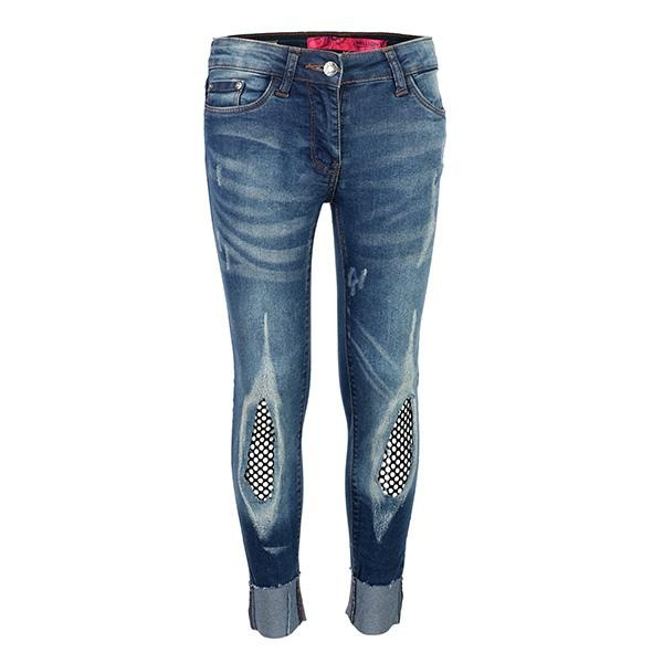 GIRLS DENIM TURN UP RIPPED TROUSER - ruffntumblekids