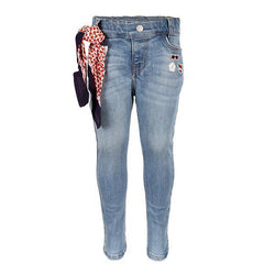 Denim Blue Applique Slim Fit Trouser